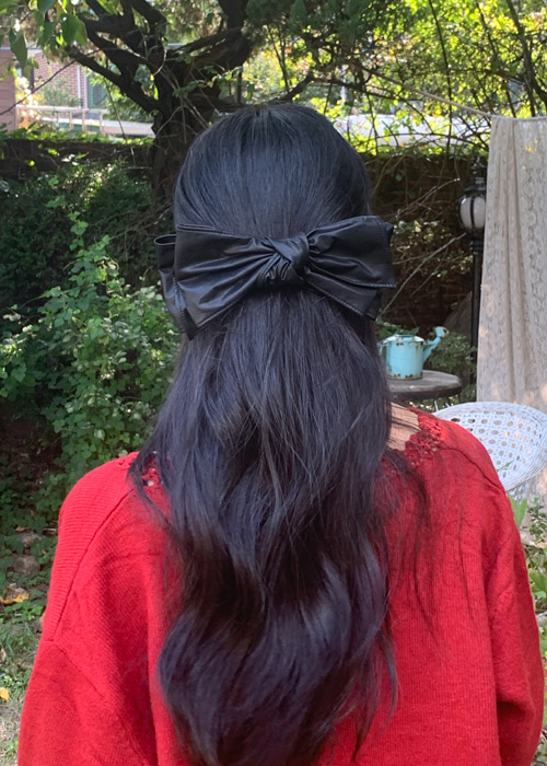 LETHER RIBBON HAIR PIN(BEIGE, CAMEL, BLACK 3COLORS!)