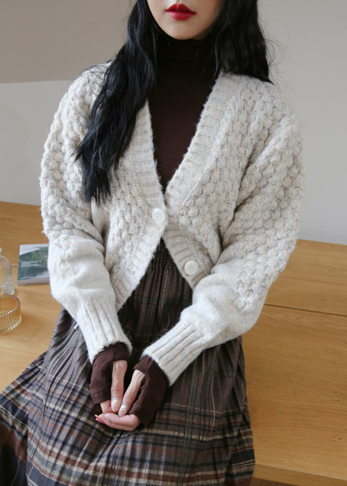 FLUFFLY THICK WOOL KNIT CARDIGAN(IVORY, VIOLET, KHAKI 3COLORS!)