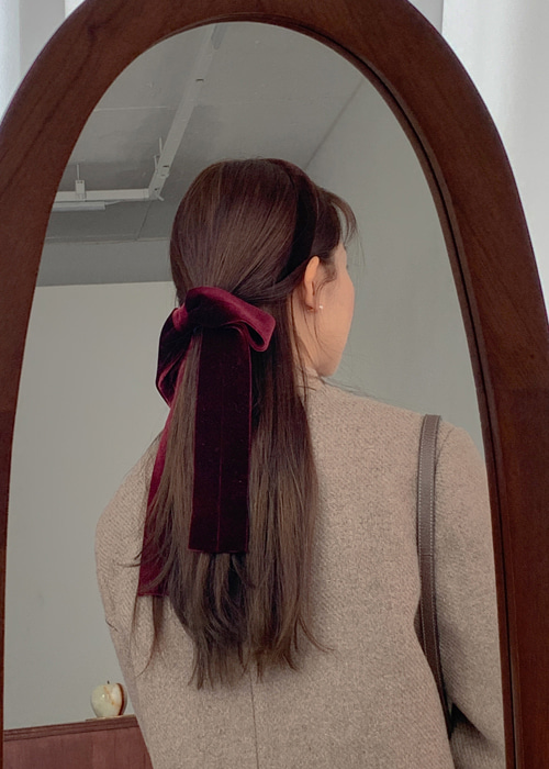 VELVET RIBBON MOOD HAIR PIN(CAMEL, PINK, BURGUNDY, GREEN, BLACK 5COLORS!)