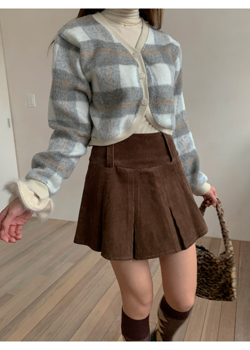 CORDUROY PLEATS SHORT SKIRT(BROWN, BLACK 2COLORS!)