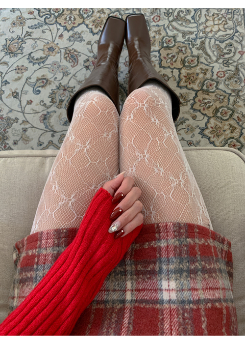 LACE MESH STOCKING(IVORY, BLACK 2COLORS!)