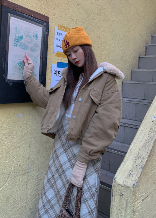 FLEECE DENIM JACKET(BEIGE, GREY 2COLORS!)