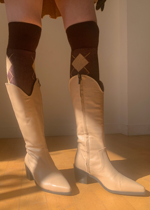 ARROW WESTERN LONG BOOTS(BEIGE, BROWN, BLACK 3COLORS!)