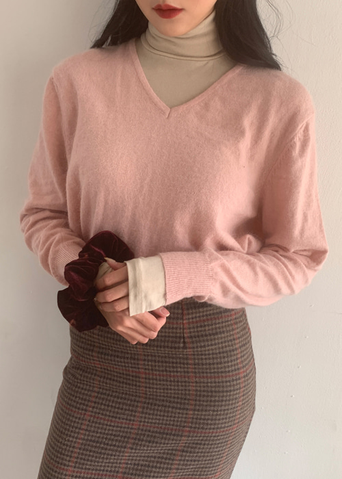 COZY V NECK KNIT(IVORY, PINK, GREEN, GREY 4COLORS!)