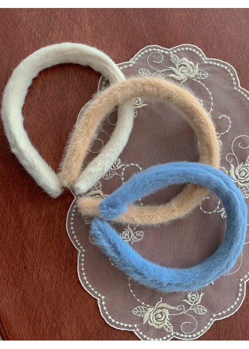 FUR HAIRBAND(IVORY, BEIGE, SKYBLUE 3COLORS!)