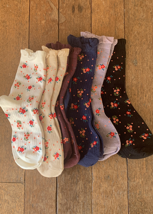 LITTLE GARDEN SOCKS(IVORY, BEIGE, BURGUNDY, NAVY, GREY, BLACK 6COLORS!)