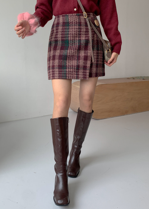 PAUL CHECK WRAP GOLD BUTTON SKIRT(BURGUNDY, BLACK 2COLORS!)