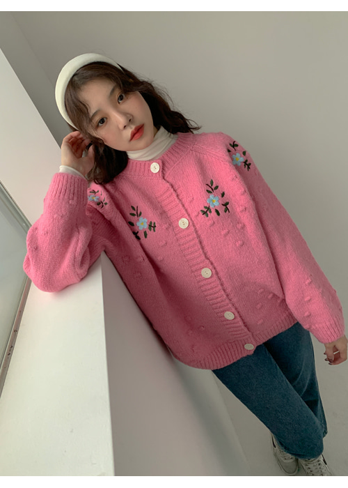 FLOWER EMBROIDERY POMPOM KNIT CARDIGAN(IVORY, PINK, GREY 3COLORS!)
