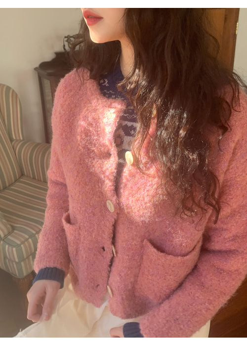 POMPOM WARM CARDIGAN(IVORY, PINK, BROWN 3COLORS!)