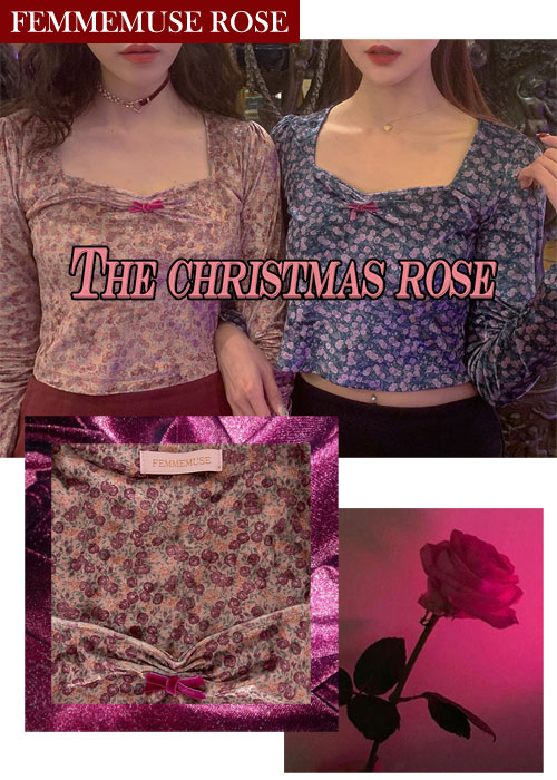 ❀FEMMEMUSE ROSE❀ VICTORIAN VELVET SWEETHEART NECK RIBBON BLOUSE T(4 COLORS!)