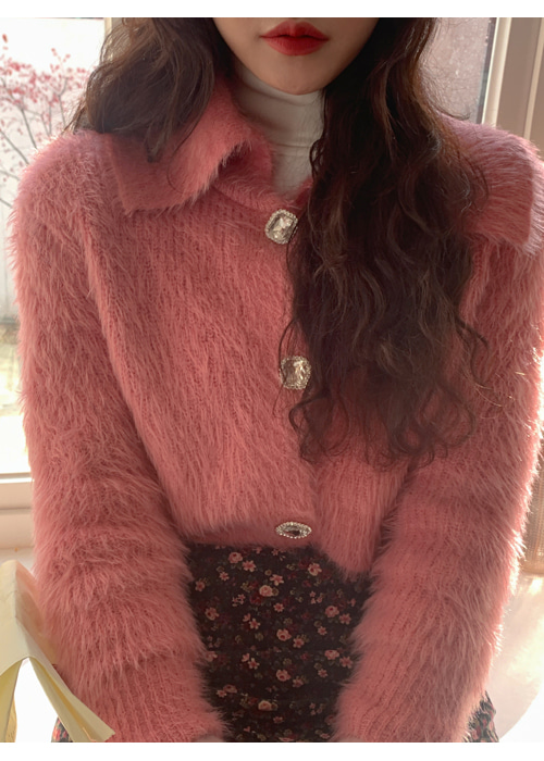 VINTAGE COLLAR FUR CROP CARDIGAN(WHITE, PINK, BLACK 3COLORS!)
