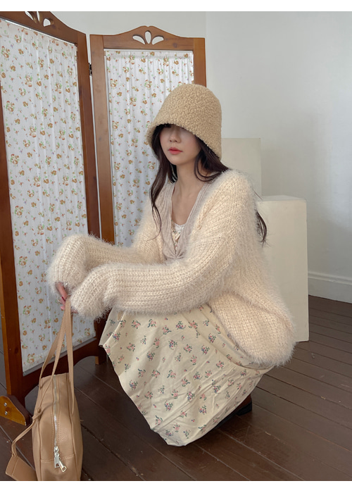 FLUFFY LOOSE FIT CARDIGAN(BEIGE, BLACK 2COLORS!)