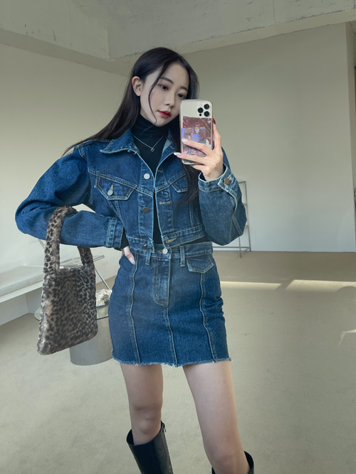 DENIM CROP JACKET SKIRT SET(DARK BLUE)