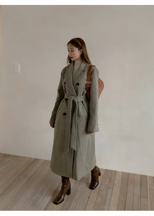 WOOL DOUBLE BUTTON LONG BELT COAT(BEIGE, CHARCOAL 2COLORS!)