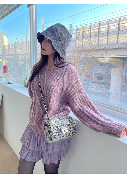 HOLIC TWIST LOOSE KNIT(PINK, GREY, NAVY 3COLORS!)