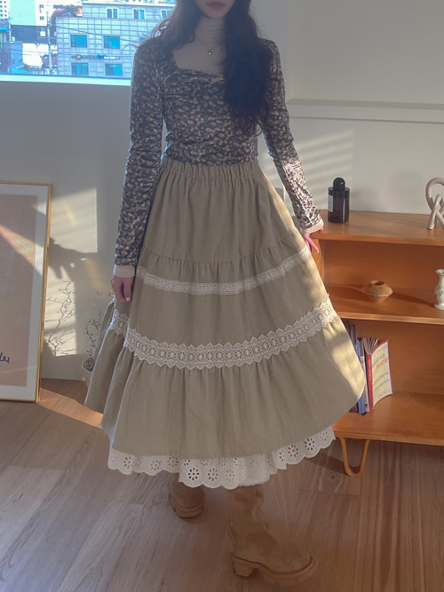 SHARON CORDUROY PLEATS LACE SKIRT(IVORY, BROWN 2COLORS!)