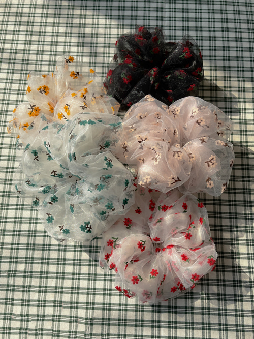 FLORAL CHOUCHOU(BEIGE, YELLOW, GREEN, RED, BLACK 5COLORS!)