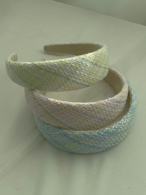 SPRING TWEED HAIR BAND(YELLOW, PINK, SKYBLUE 3COLORS!)
