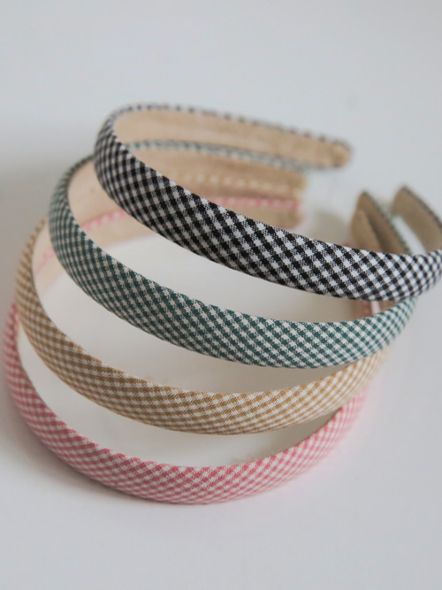 SHEPHERD CHECK HAIR BAND(BEIGE, PINK, KHAKI, BLACK 4COLORS!)