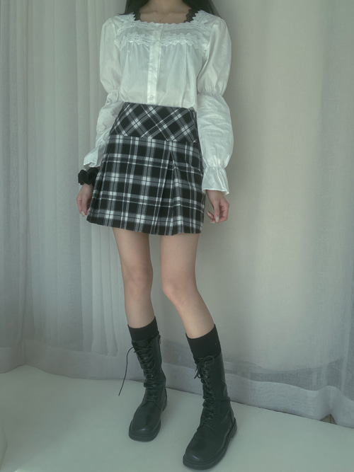 UNBALANCE CHECK PLEATS SKIRT(YELLOW, BLACK 2COLORS!)