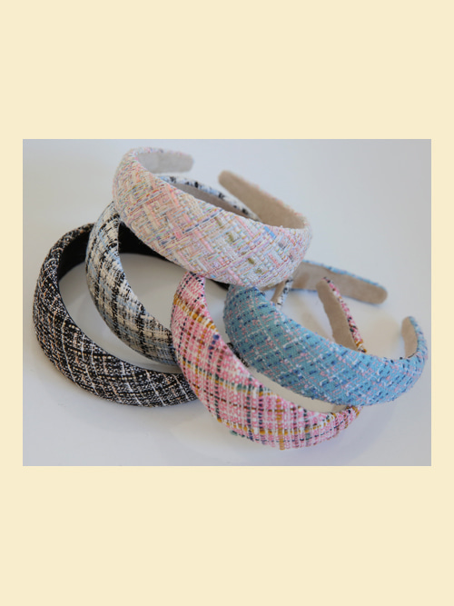 TWEED HAIR BAND(IVORY, PINK, SKYBLUE, BLUE, BLACK 5COLORS!)