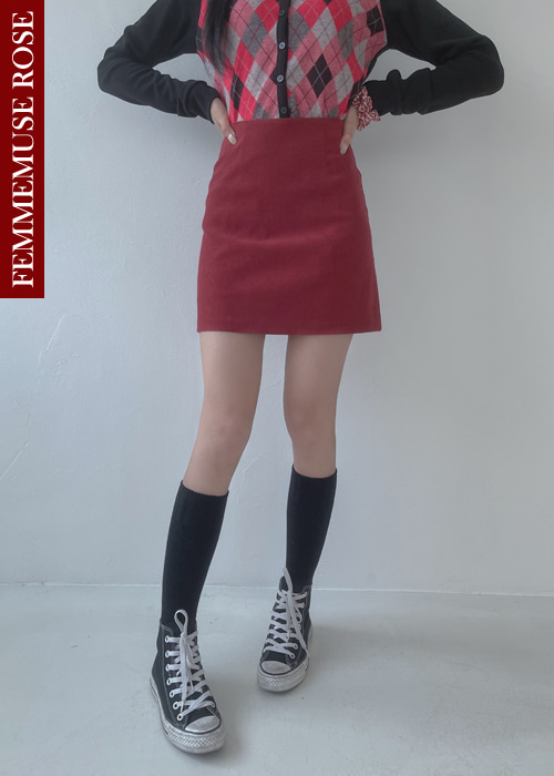 ❀FEMMEMUSE ROSE❀ROMANTIC PASTEL SLIM MINI SKIRT(PINK, VIOLET, RED, BROWN, NAVY 5COLORS!)