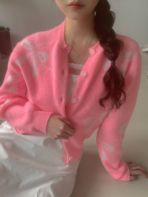 RIBBON PATTERN CARDIGAN(IVORY, SKYBLUE, PINK 3COLORS!)