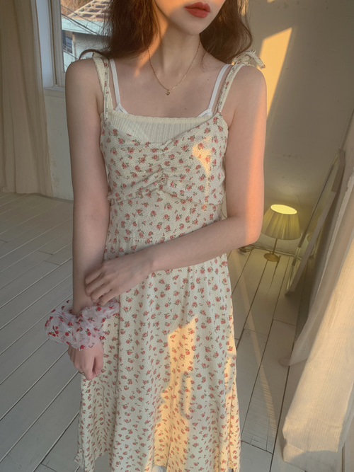 ROSE SHIRRING SLIP DRESS(IVORY, YELLOW, BLACK 3COLORS!)