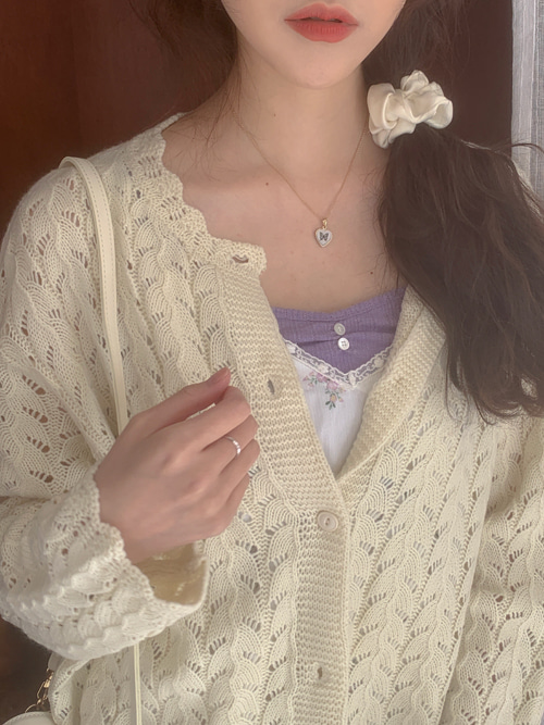 WAVE PUNCHING LOOSE KNIT CARDIGAN(IVORY, SKYBLUE, PINK 3COLORS!)