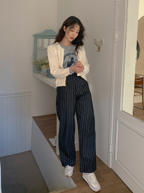 DENIM STRIPE PANTS