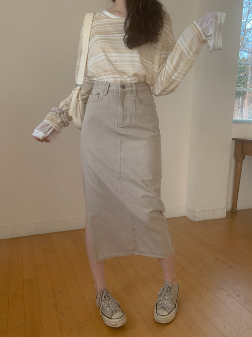 LIGHT BEIGE DENIM LONG SKIRT