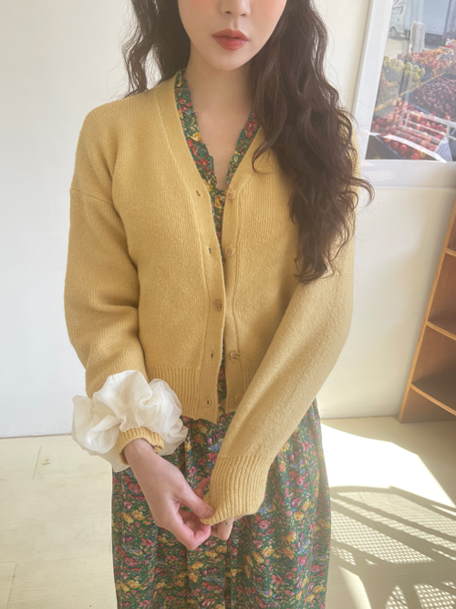 PETIT LOOSE KNIT CARDIGAN(IVORY, BEIGE, YELLOW, SKYBLUE, PINK, RED, BLACK 7COLORS!)