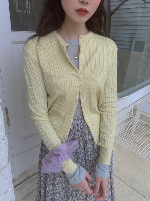 VICO TWIST KNIT CARDIGAN(IVORY, BEIGE, YELLOW, PINK, MINT, NAVY 6COLORS!)