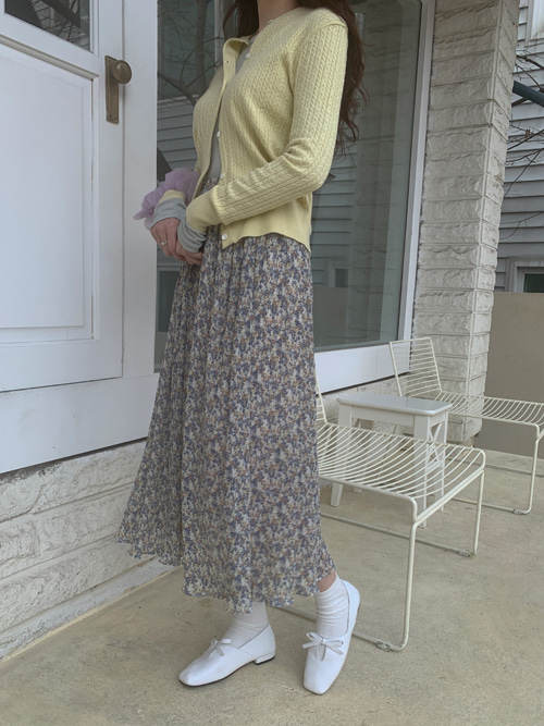 ROMANCE FLEUR PLEATS SKIRT(YELLOW, SKYBLUE, PINK 3COLORS!)