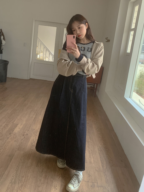 INDIGO DENIM HIPPIE LONG SKIRT