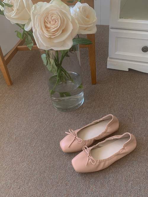 VINTAGE SHIRRING RIBBON SHOES(WHITE, BEIGE, PINK, BLACK 4COLORS!)