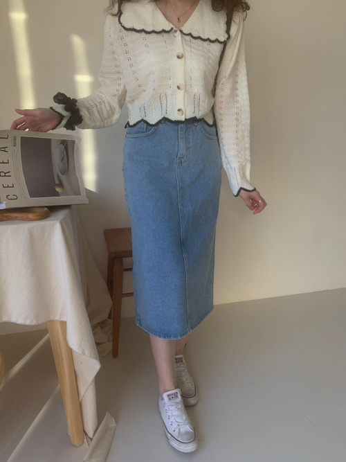 DENIM BACK CUTTING LONG SKIRT(LIGHT WASH, BLACK WASH 2COLORS!)