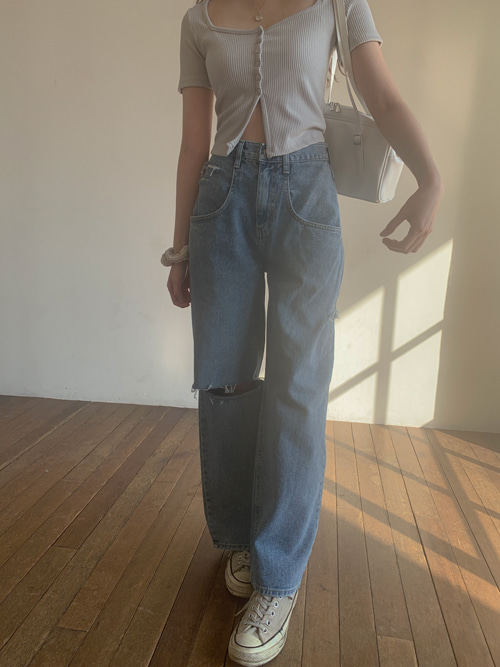 SIDE CUTTING DENIM WIDE PANTS