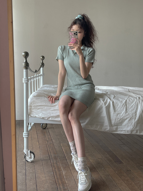 COLLAR KNIT DRESS(IVORY, MINT, BLACK 3COLORS!)