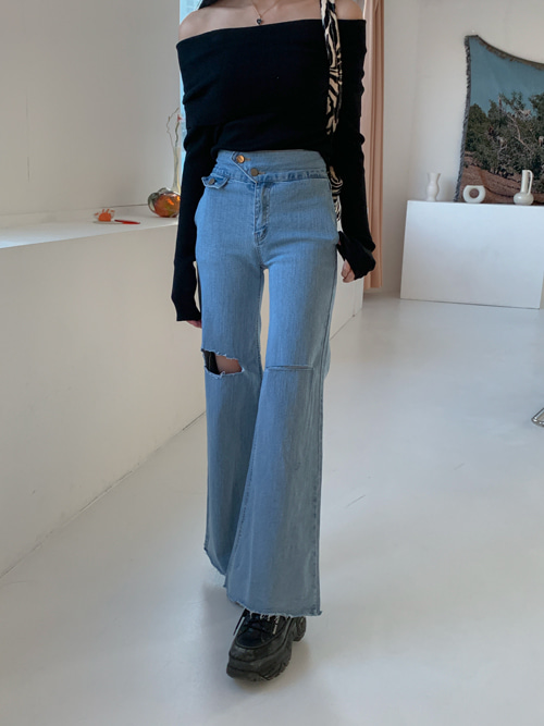 90S BUTTON WIDE DENIM PANTS