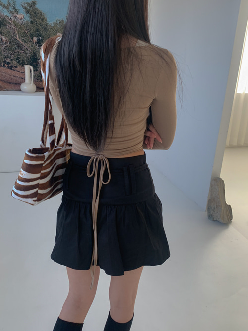 DOUBLE STRAP COTTON SKIRT(BEIGE, BLACK 2COLORS!)
