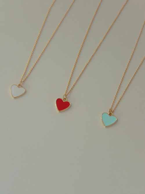 GOLD FRAME HEART NECKLACE(WHITE, MINT, RED, BLACK 4COLORS!)