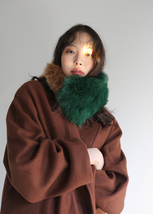 REAL FOX FUR MUFFLER(GREEN, BLUE 2COLORS!)