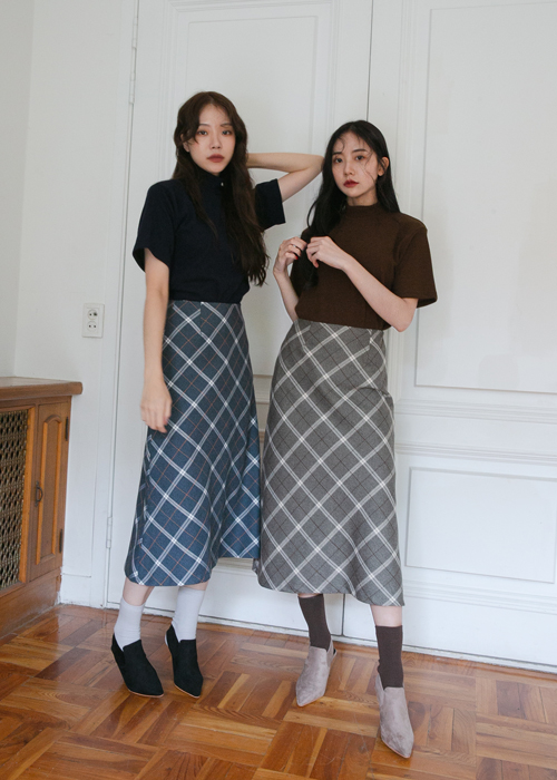 AUTUMN CHECK MIDI FLARE SKIRT(NAVY, GREY 2COLORS!)