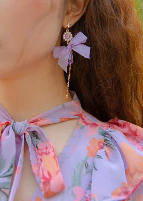 FLORAL RIBBON BLING EARRING(WHITE, PINK, VIOLET 3COLORS!)