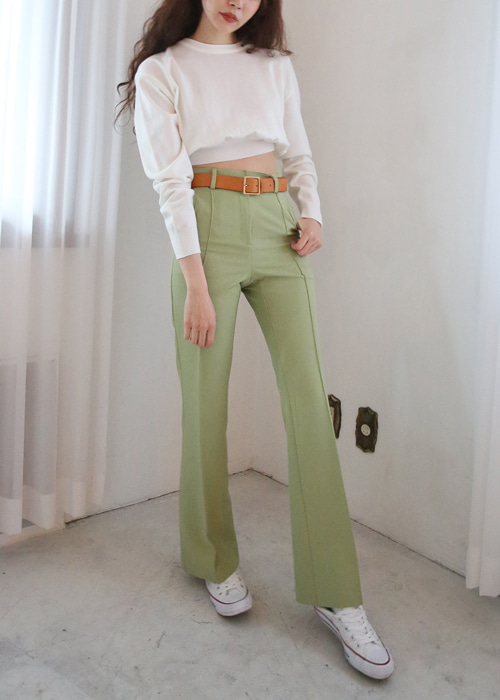 SILKY SLIM  BOOTSCUT PANTS(MINT, BROWN, BLACK 3COLORS!)