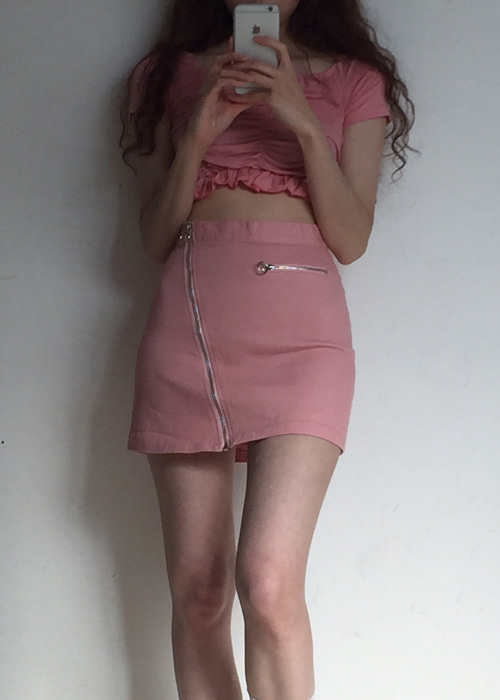 A-LINE ZIP-UP SKIRT(PINK, BLACK 2COLORS!)