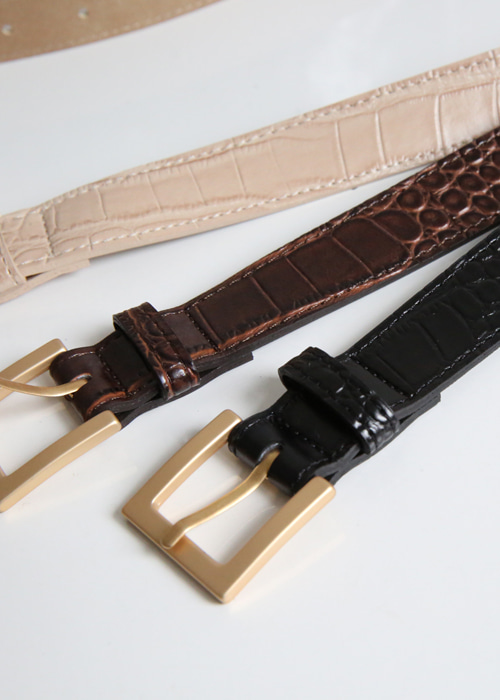 HIGHWAIST SQUARE LEATHER BELT(BEIGE, BROWN, BLACK 3COLORS!)