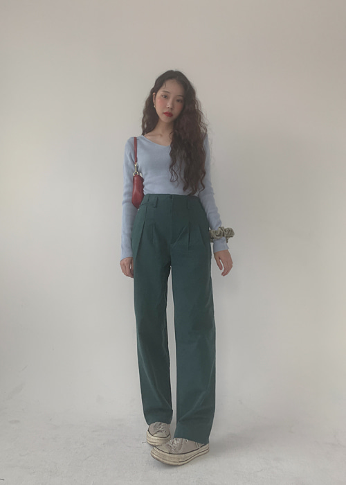 STRAIGHT COTTON PANTS(BEIGE, BLUISH GREEN, BLACK 3COLORS!)