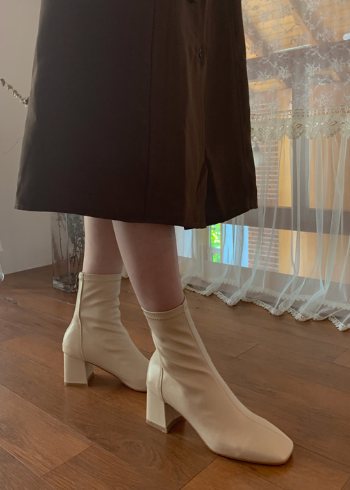 SQUARE TOE ANKLE BOOTS(IVORY, BEIGE, BLACK 3COLORS!)